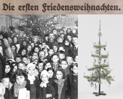 Waisenkinder © Wiener Bilder, 29.12.1918, S. 9. ANNO/Österreichische Nationalbibliothek. / Weihnachtsbaum aus Gänsefedern © Landessammlungen Niederösterreich, Foto: Rocco Leuzzi.